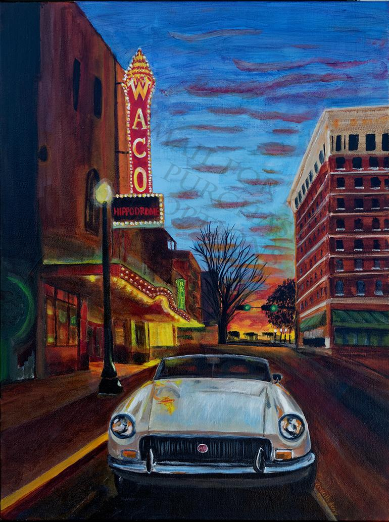 Downtown Waco at the Hippodrome with Our MGB
